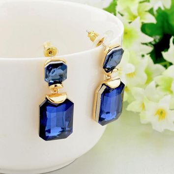 Gold Plated Geometric Stud Earrings Blue Crystal Stone