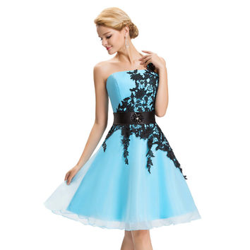 Short Prom Dress Cockail Organza Sexy One Shoulder Lace Evening Gowns Knee Length Prom Dresses