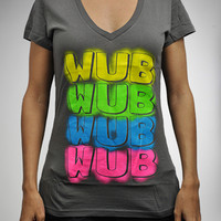 ''Wub Wub Wub' Junior V-Neck Fitted Tee