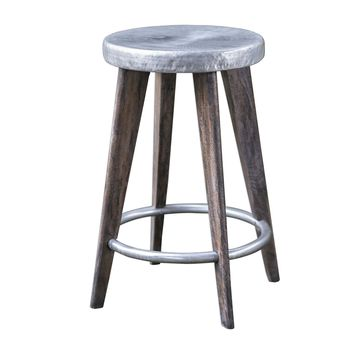Maxen Hammered Iron Top & Mango Wood Backless Counter Stool by Uttermost