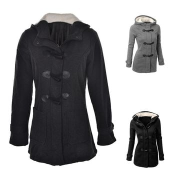 Women's Trench Coat Autumn Thick Lining Winter Jacket Overcoat Female Casual Long Hooded Coat Zipper Horn Button Outwear