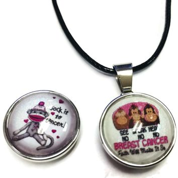 Hear See Speak No Evil Sock Monkey Pink Ribbon Breast Cancer Support Awareness Hope Cure Pendant Necklace  W/2 18MM - 20MM Snap Jewelry Charms