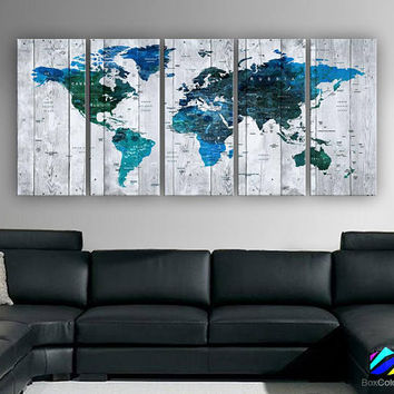 "XLARGE 30""x70"" 5 Panels 30""x14"" Ea Art Canvas Print Watercolor Multi Color Map World Push Pin Travel Wall decor (framed 1.5"" depth)M1813"
