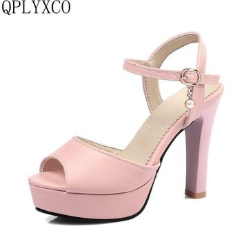 QPLYXCO 2017 New Sale Big &Small 32-45 women stiletto peep open toe high heel(9cm) sandals party lady footwear Pumps shoes C9-12