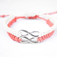 Infinity Hemp Bracelets Coral and White