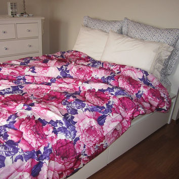 Hot Pink purple Rose print floral FULL or Queen duvet cover  - Custom Bedding  romantic bedroom