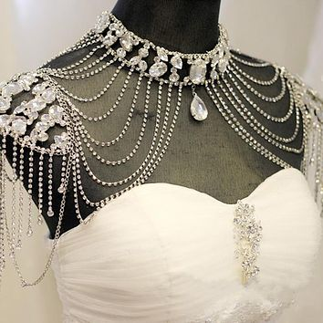 Bridal Beaded Lace Chain Tassel Shoulder Chain Jewelry Crystal Accessories Wedding