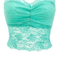 Ruched Lace Longline Bra: Charlotte Russe