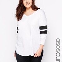 ASOS CURVE Top With Stripe Sleeve