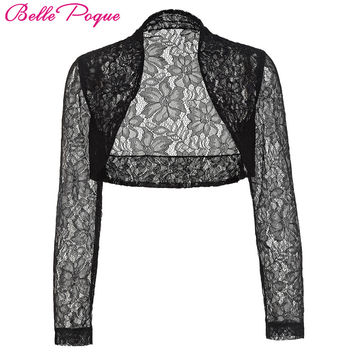 Belle Poque Jacket Womens Ladies Long Sleeve Cropped Shrug Black White Coat 2017 New Fashion Lace Bolero Plus Size