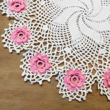 Crocheted Pink Rose Doily 13""