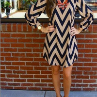 Wave Print Long Sleeve Dress