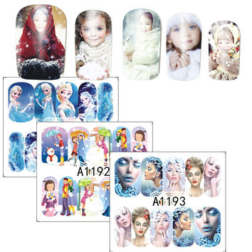 1Sheets Nail Art Water Transfer Sticker Full Cover Decals Winter Beauty Lady Girl Frozen Design Stickers Wrap Tips A1189-1200