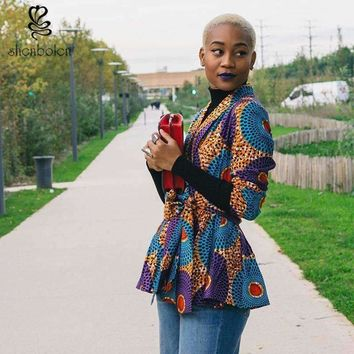 Autumn African Dress for Women Long Sleeve Jacket Ankara Print