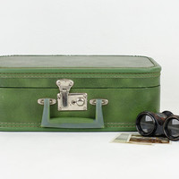 Vintage Green Train Case / Small Suitcase