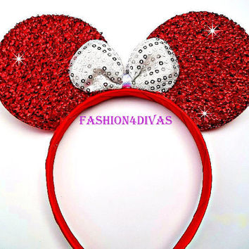 Minnie Mouse Ears Headband Red white Bow Mickey Holiday Ears