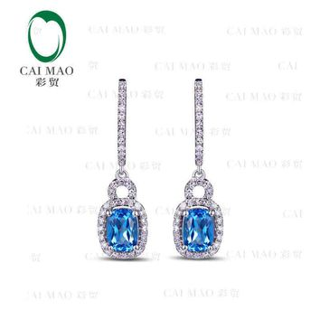 18KT White Gold 2.15 ct Natural Blue Topaz & 0.51 ct Full Cut Diamond Halo