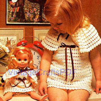 70s Crochet Vintage Pattern | Girl Dress Cape w Matching Doll Outfit | mommy and me dolly and me retro simple girlie dress | Direct from USA