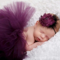 Newborn TUTU Skirt&Headband Set Infant baby Floral Hairband&Dress Photography Props Baby Girl Outfit (Size: 0-6m, Color: Purple)