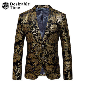 Gold Blazer Men Floral Casual Slim Blazers New Arrival Fashion Party Single Breasted Men Suit Jacket