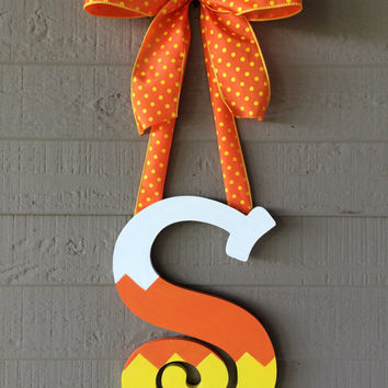 Whimsical Candy Corn Door Initial Monogram Hanger Wreath Custom Letter Personalized Fall Decor Chevron