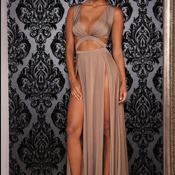 Sleeveless Plunge V Neck Cut Out Double Slit Maxi Dress
