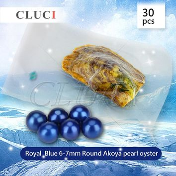 CLUCI HOT SELLER, 30PCS Royal blue 6-7mm round Akoya pearl in oyster, genuine beads for jewelry making, free shipping