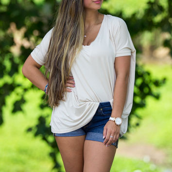 The Perfect Piko V-Neck Short Sleeve Top-Sand