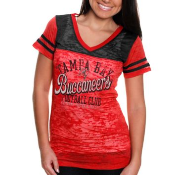 Touch By Alyssa Milano Tampa Bay Buccaneers Womens Coop Premium T-Shirt - Red/Black