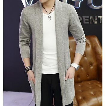 Mens Mid Length Shawl Collar Cardigan