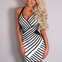 Black and White Halter Neck Mesh Cut-out Bodycon Mini Dress
