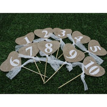 Rustic Vintage Wedding Table Numbers  Hessian