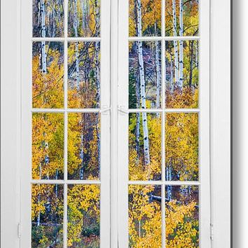 Old 16 Pane White Window Colorful Fall Aspen View Metal Print