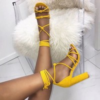 Sexy chunky heels with a sexy fish-mouth cross strap