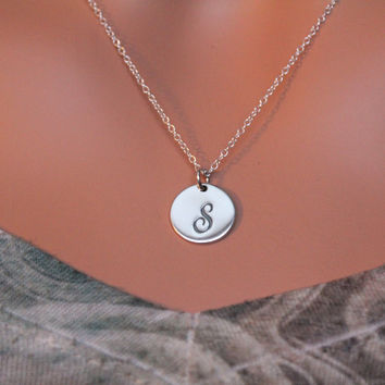 Cursive Circular S Initial Charm Necklace