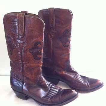 Vintage Lucchese Leather Inlay Cowboy Boots by TomahawkVintage