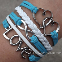 Telesthesia Infinity LOVE lovers bracelet-silver infinity,LOVE,Heart bracelet-white,blue wax rope and white braided leather bracelet