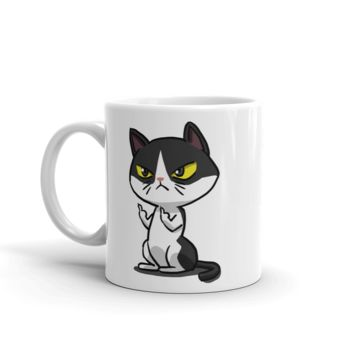 Middle Finger Cat Coffee Mug