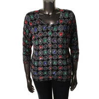 Joseph A Womens Knit Printed Cardigan Sweater