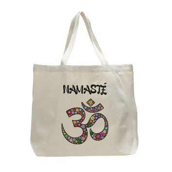 Canvas Namaste Tote Bag - Trendy Natural Canvas Bag - Funny and Unique - Tote Bag