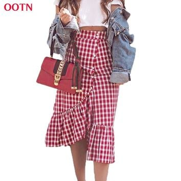 OOTN 2017 Summer Maxi Skirt Women Red And White Plaid Long Skirts Ruffled Gingham Skirt Female Party Club Street Style Cotton