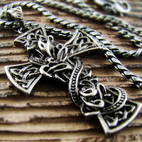 Mens Retro Burnished Big Celtic Patterns with Snake Cross Pendant Necklace Chain Rider Punk 51