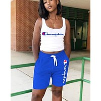 Champion New fashion letter print vest top and shorts two piece suit Blue