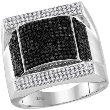 10kt White Gold Mens Round Black Colored Diamond Domed Rectangle Cluster Ring 1-1/12 Cttw 86324