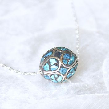 Antique Turquoise Mosaic Floating Bead Necklace