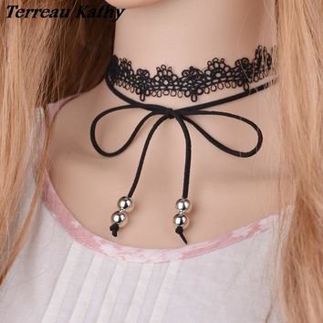 Elegant Sexy Black Lace Choker Faux Suede Tie Bow Gothic Choker Beaded Double Wrap Chokers New Necklace Jewelry for Women