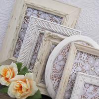 Shabby Chic Picture Frame Set Of 6 Antique White Wall Decor