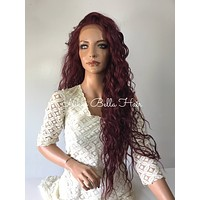 "Red Long Wavy Multi 2"" Deep Parting lace front wig 26' Evanesce"