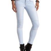 Quilted Skinny Moto Jeans by Charlotte Russe - Lt Wash Denim