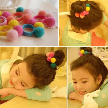 Candy Color Wool Felt Fabric Balls Kids Hair ties Baby Girls' Hair Bands Hair Accessories